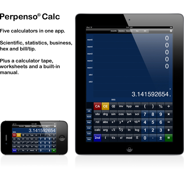 Perpenso Calc, five calculators in one, scientific, statistics, business, hex and bill / tip, fractions, complex numbers, rpn