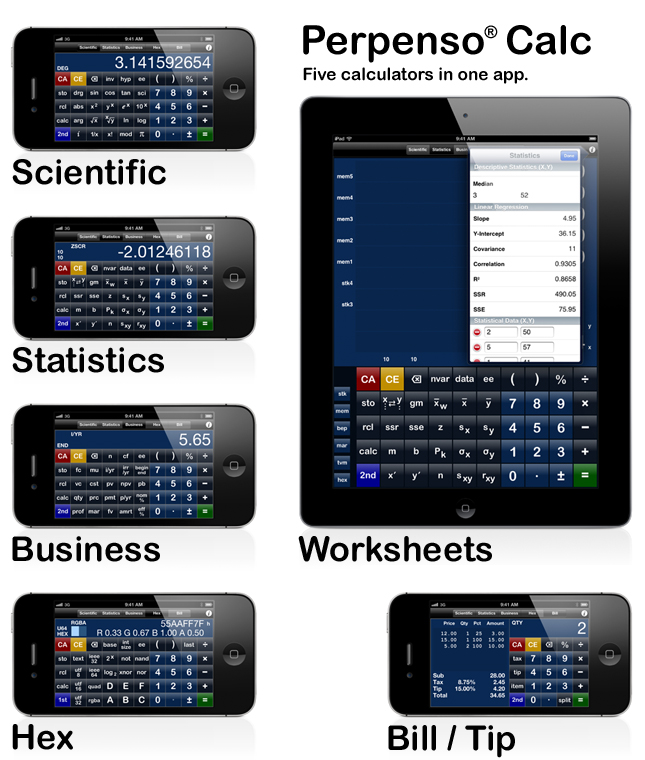 Perpenso Calc, three calculators in one, scientific, hex and bill / tip, fractions, complex numbers, rpn